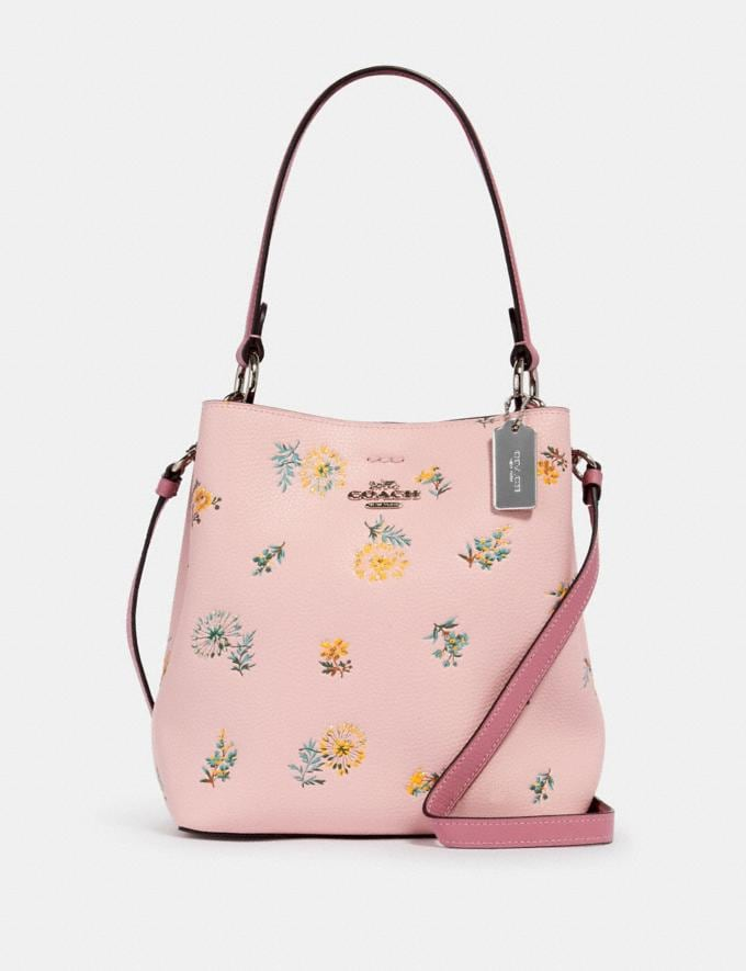 Coach Small Town Bucket Bag With Dandelion Floral Print Sv/Blossom Green Multi Memorial Day Deals