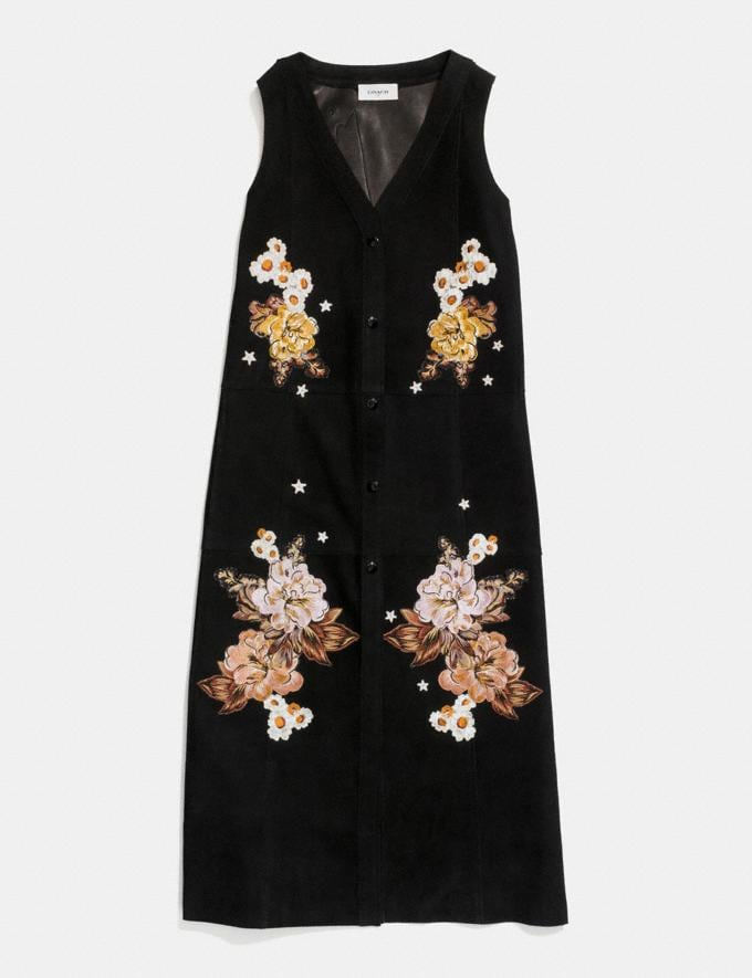 Coach Embroidered Suede Dress Black