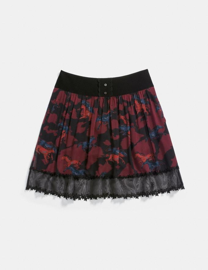 Coach Horse Print Tiered Skirt Dark Red