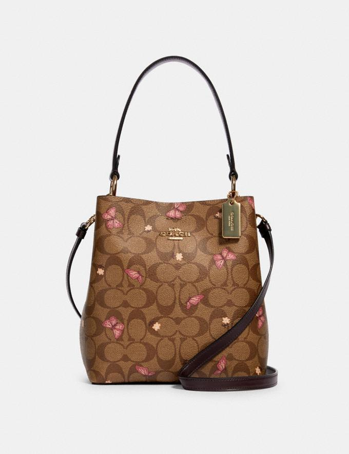 Coach Small Town Bucket Bag in Signature Canvas With Butterfly Print Im/Khaki Pink Multi/Oxblood