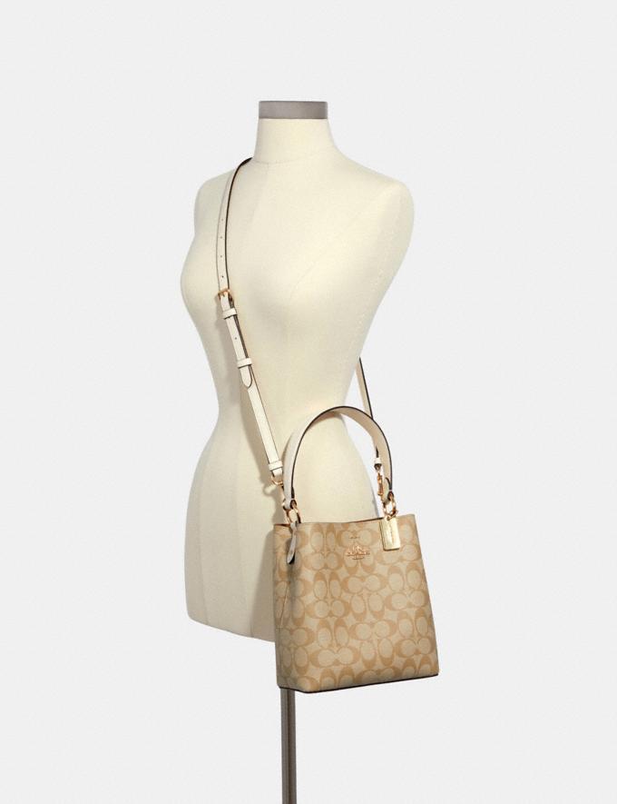 Coach Small Town Bucket Bag in Signature Canvas Im/Light Khaki Chalk Women Bags Alternate View 2
