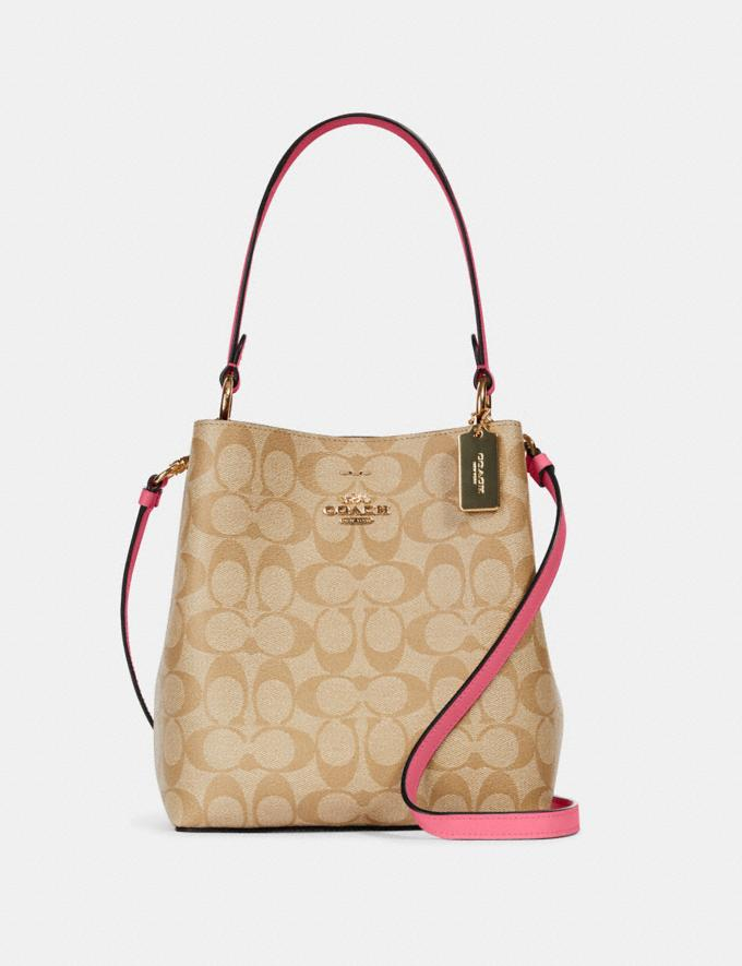 Coach Small Town Bucket Bag in Signature Canvas Im/Light Khaki/Confetti Pink DEFAULT_CATEGORY