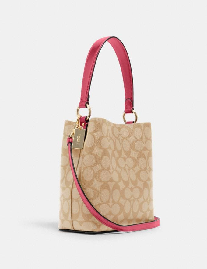Coach Small Town Bucket Bag in Signature Canvas Im/Light Khaki/Confetti Pink DEFAULT_CATEGORY Alternate View 1