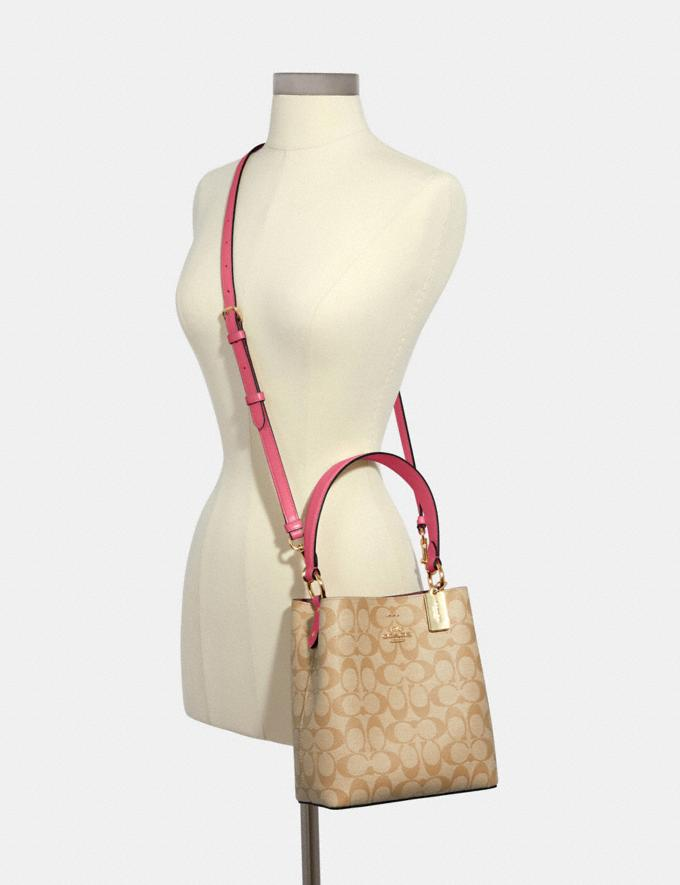 Coach Small Town Bucket Bag in Signature Canvas Im/Light Khaki/Confetti Pink DEFAULT_CATEGORY Alternate View 3