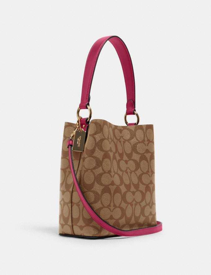 Coach Small Town Bucket Bag in Signature Canvas Im/Khaki/Bright Violet DEFAULT_CATEGORY Alternate View 1