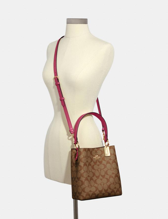 Coach Small Town Bucket Bag in Signature Canvas Im/Khaki/Bright Violet DEFAULT_CATEGORY Alternate View 3