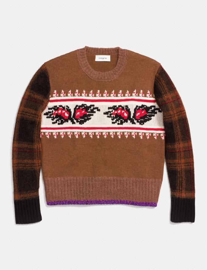 Coach Leaf Plaid Sweater Saddle