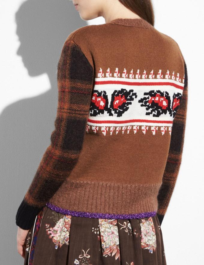 Coach Leaf Plaid Sweater Saddle  Alternate View 2