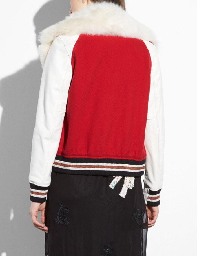 Coach Varsity Jacket Red Women Ready-to-Wear Coats & Jackets Alternate View 2