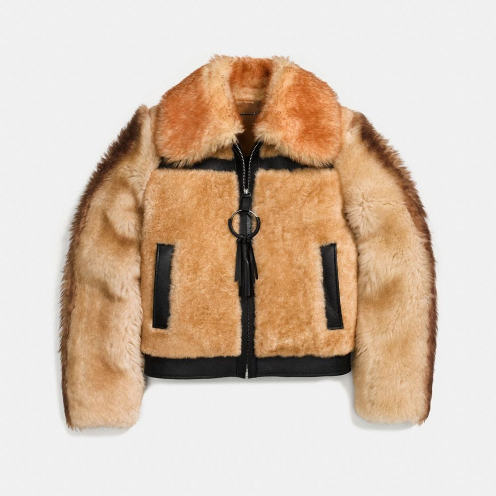 Coach Pieced Shearling Bomber