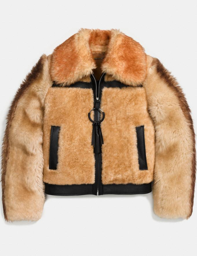 Coach Pieced Shearling Bomber Bamboo