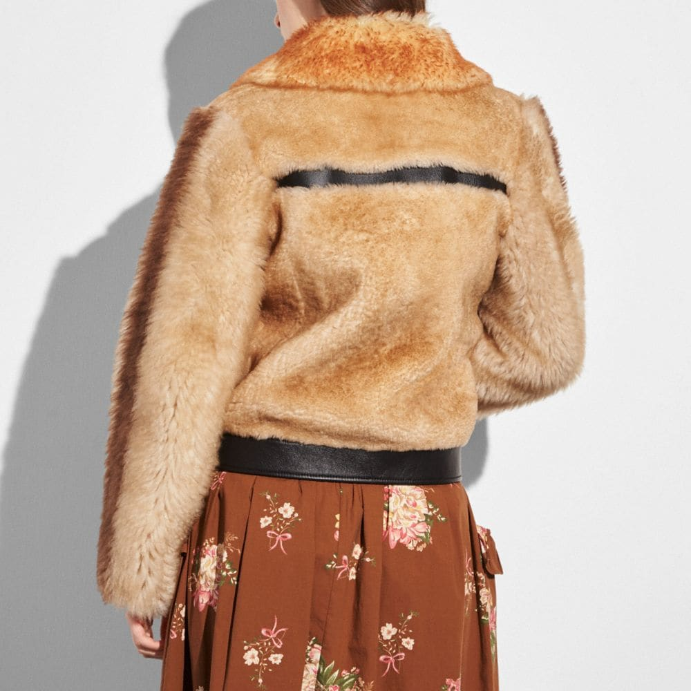 Coach Pieced Shearling Bomber Alternate View 2