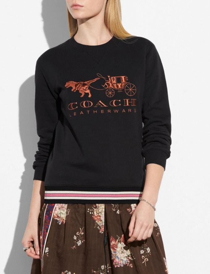Coach Rexy and Carriage Sweatshirt Black Women Ready-to-Wear Tops Alternate View 1