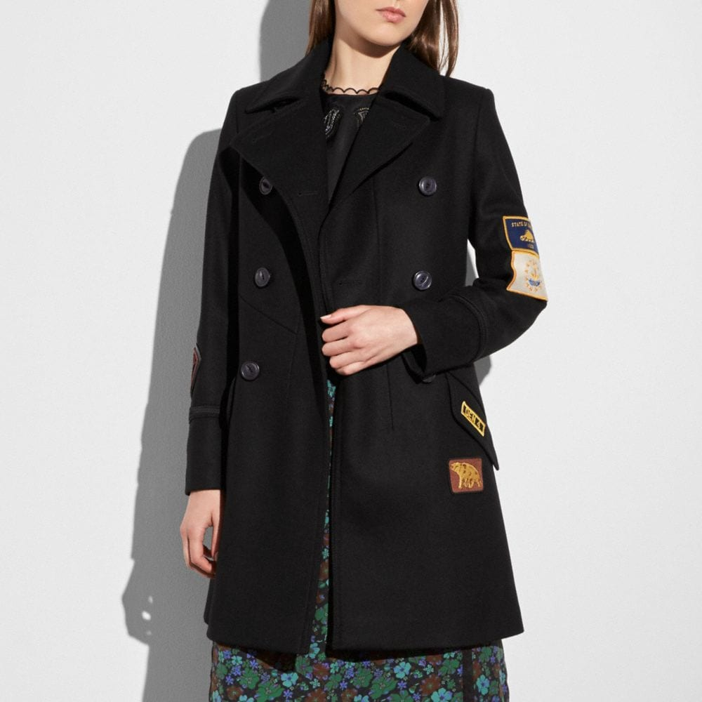 Coach Military Patch Naval Coat Alternate View 1