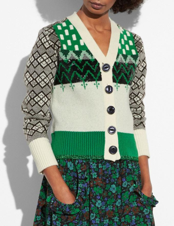 Coach Jacquard Cardigan Green/Ivory  Alternate View 1