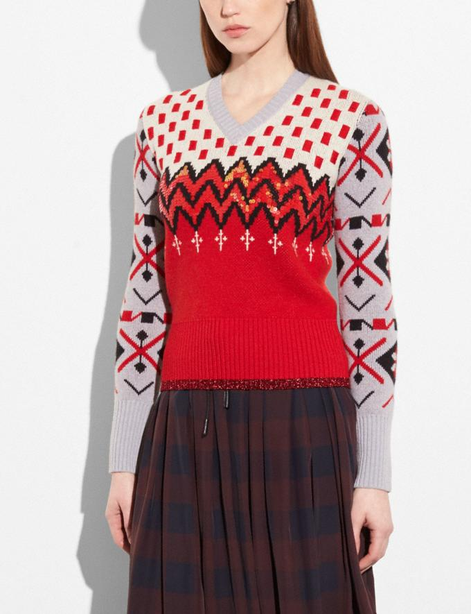 Coach Jacquard V-Neck Sweater Red/Grey  Alternate View 1