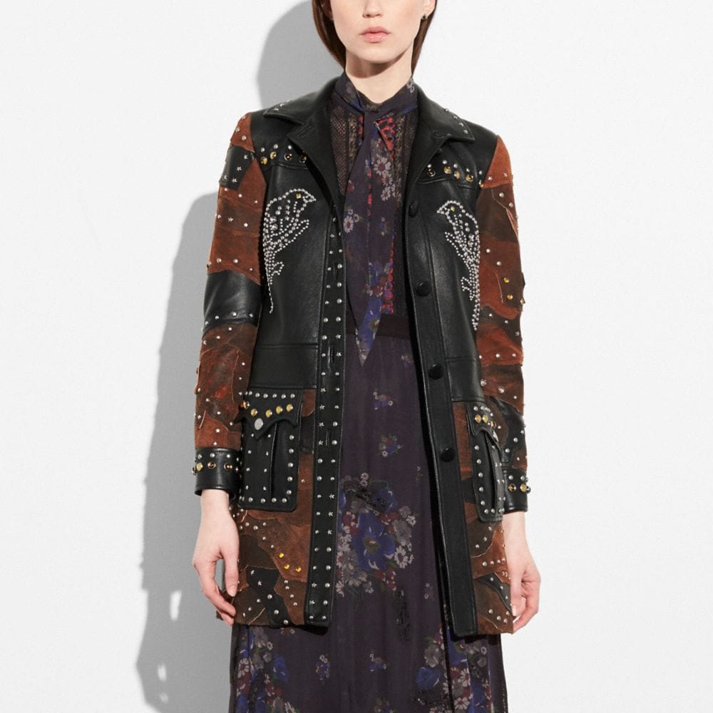 Coach Patchwork Western Rivets Coat Alternate View 1