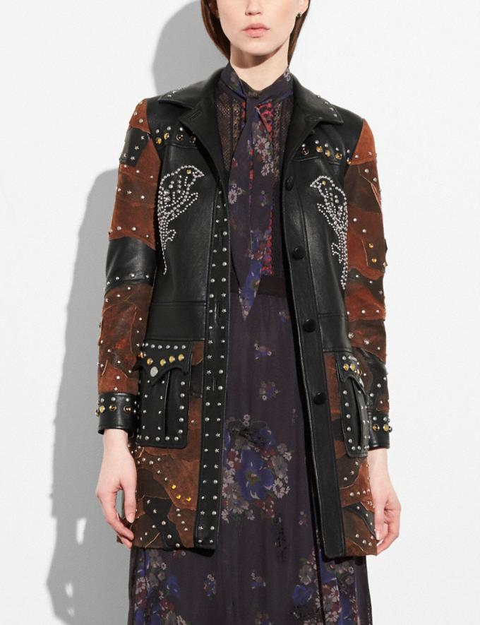Coach Patchwork Western Rivets Coat Black  Alternate View 1