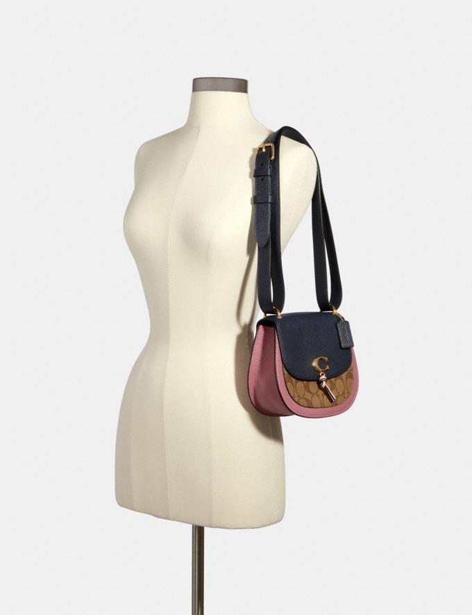 Coach Remi Saddle Bag in Colorblock Signature Canvas Im/Khaki/ Midnight Multi Women Bags Alternate View 4