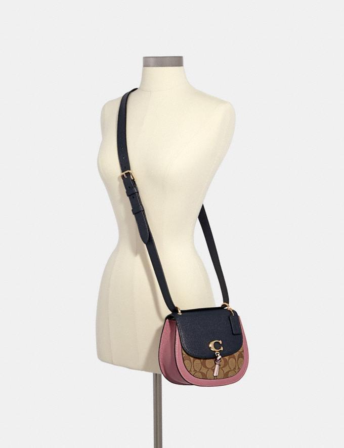 Coach Remi Saddle Bag in Colorblock Signature Canvas Im/Khaki/ Midnight Multi Women Bags Alternate View 3