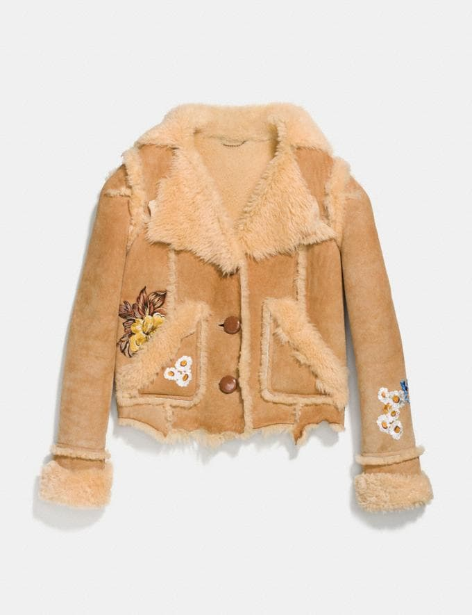 Coach Eagle Raggedy Shearling Jacket Toffee