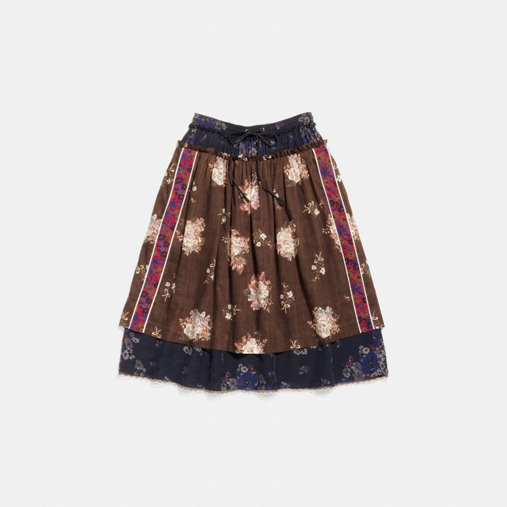 mixed print layered skirt