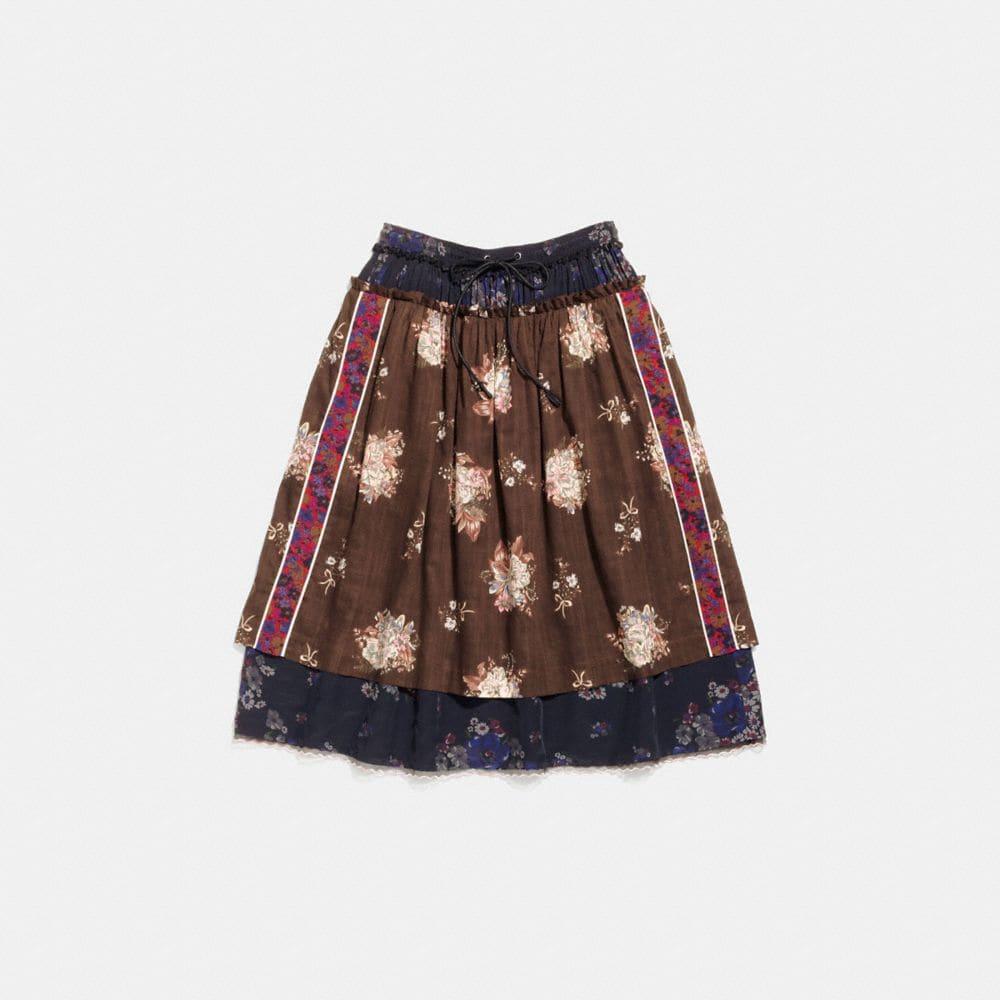Coach Mixed Print Layered Skirt