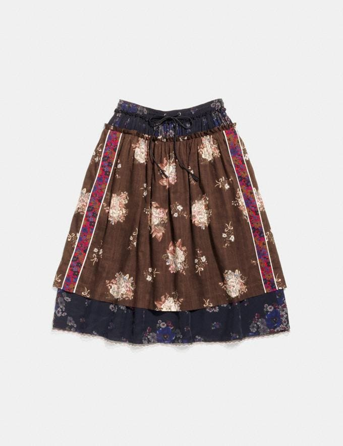 Coach Mixed Print Layered Skirt Brown Multicolor Women Ready-to-Wear Skirts