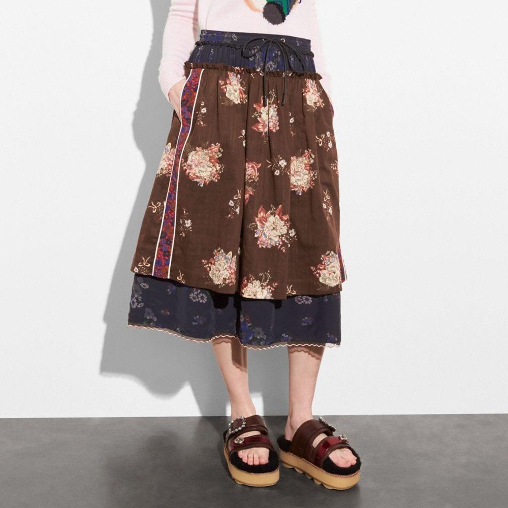 Coach Mixed Print Layered Skirt Alternate View 1