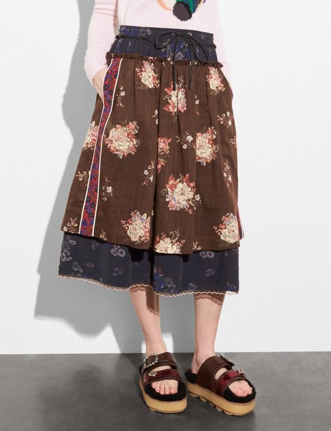 Coach Mixed Print Layered Skirt Brown Multicolor Women Ready-to-Wear Skirts Alternate View 1