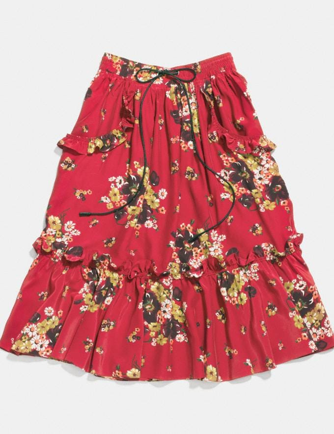 Coach Daisy Bouquet Ruffle Skirt Burgundy Women Ready-to-Wear Skirts
