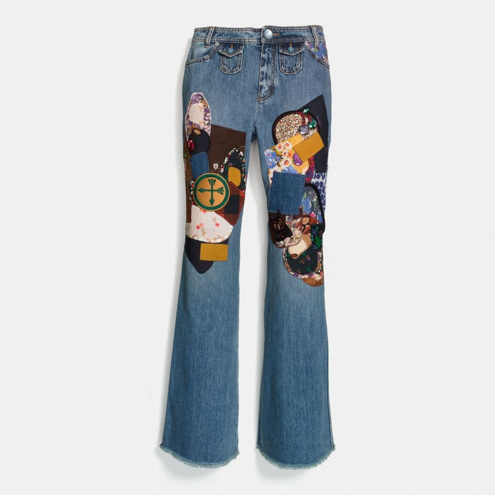 Patchwork Bootcut Jeans  in Blue