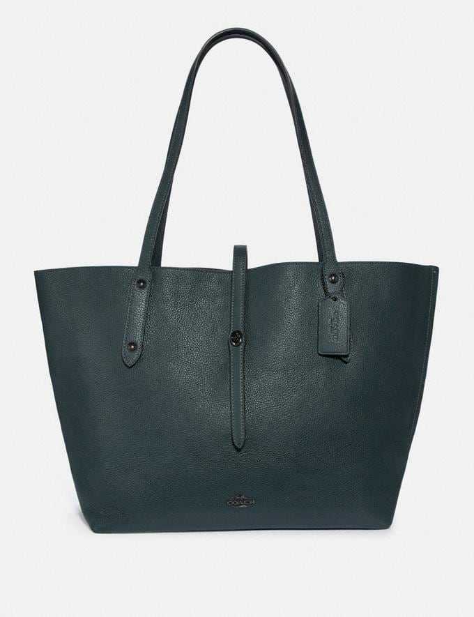 Coach Market Tote With Metallic Interior Cypress/Gunmetal Personalise Personalise It Monogram For Her