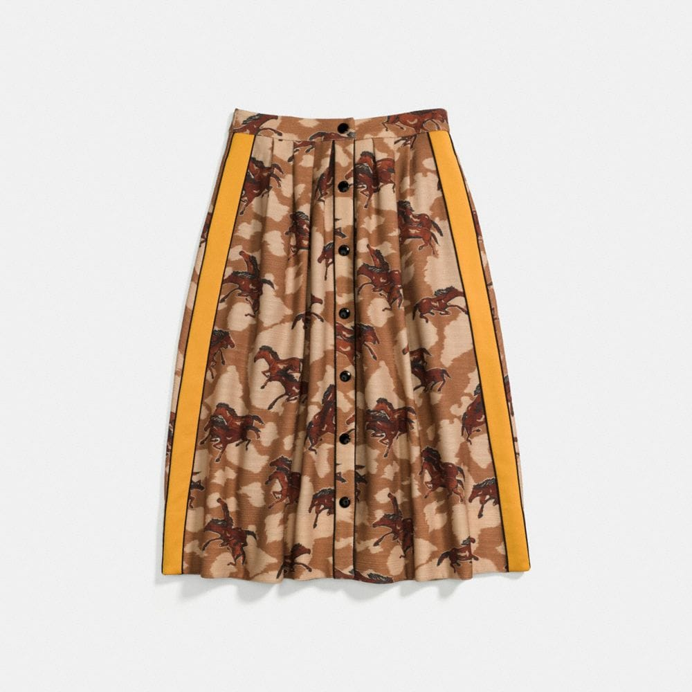 Coach Horse Print Pleated Skirt With Side Panel