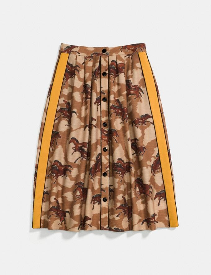 Coach Horse Print Pleated Skirt With Side Panel Brown
