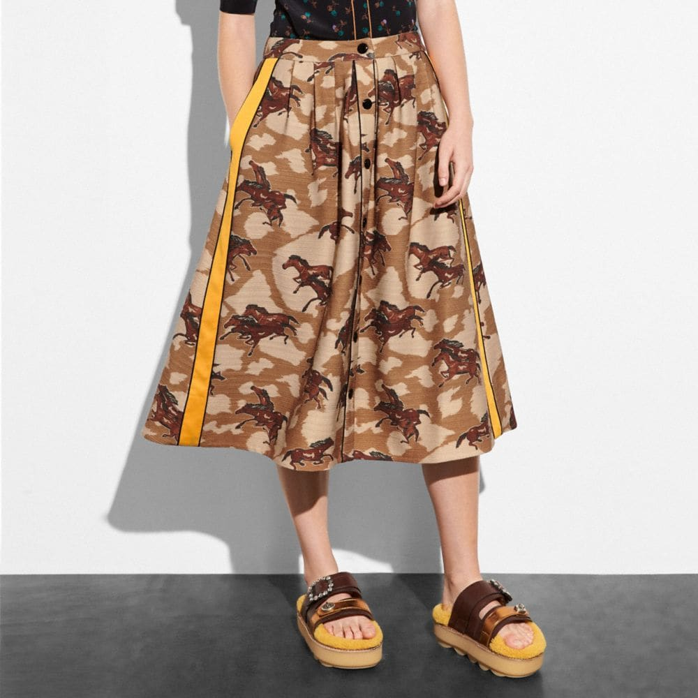 Coach Horse Print Pleated Skirt With Side Panel Alternate View 1