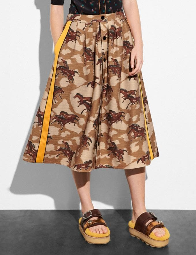Coach Horse Print Pleated Skirt With Side Panel Brown  Alternate View 1