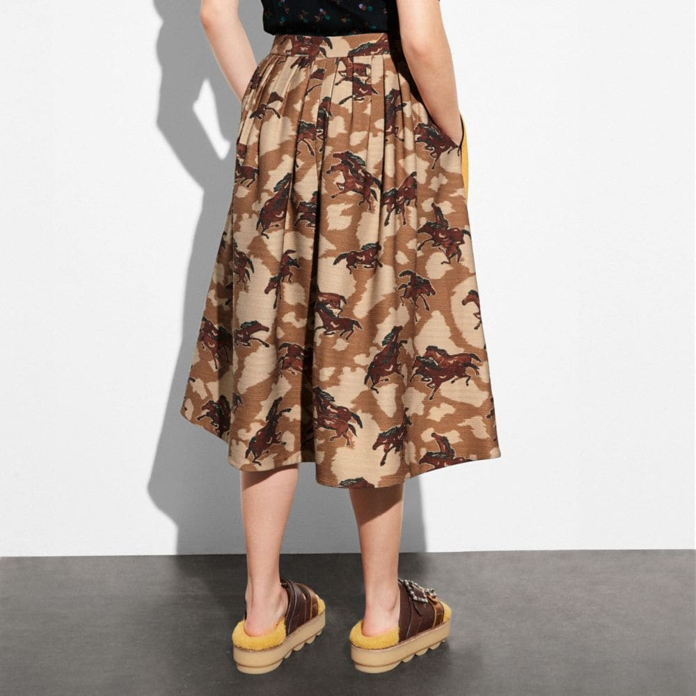 Coach Horse Print Pleated Skirt With Side Panel Alternate View 2