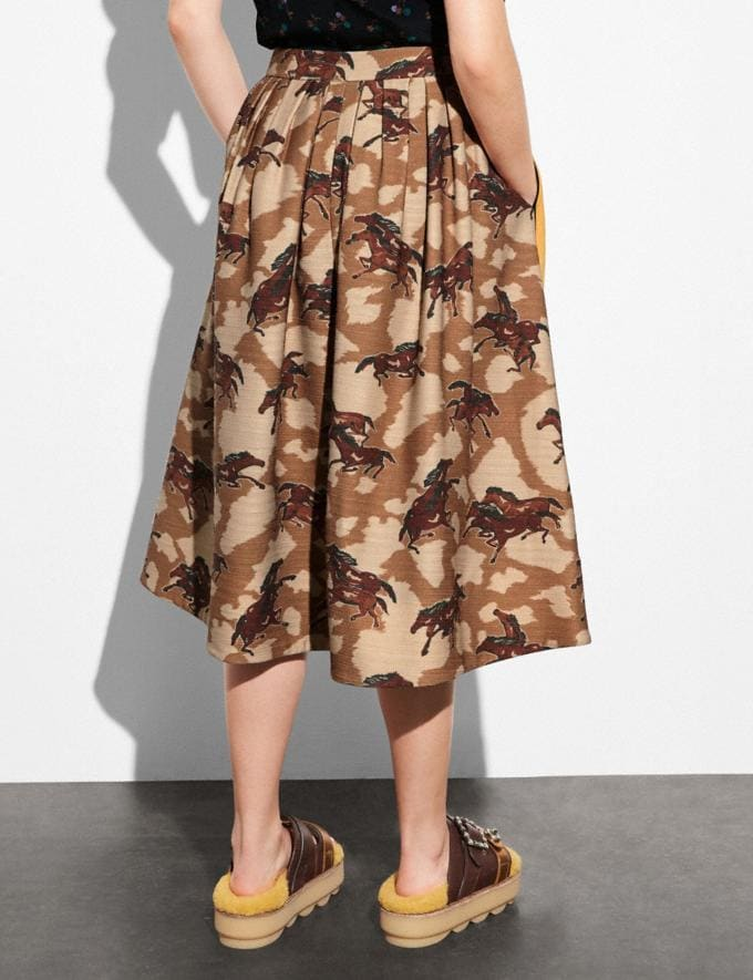 Coach Horse Print Pleated Skirt With Side Panel Brown  Alternate View 2