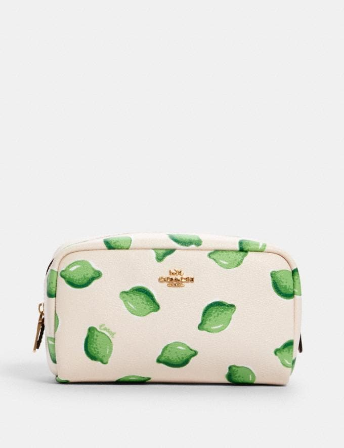 Coach Small Boxy Cosmetic Case With Lime Print Im/Chalk Green Multi