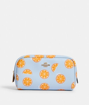SMALL BOXY COSMETIC CASE WITH ORANGE PRINT