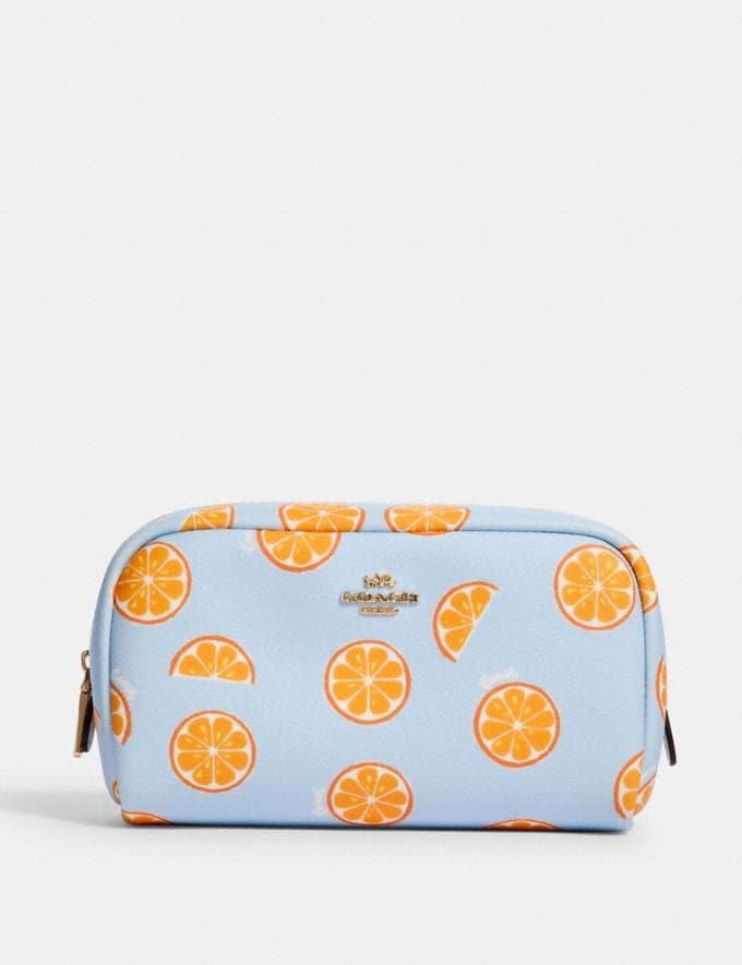 Coach Small Boxy Cosmetic Case With Orange Print Im/Orange/Blue