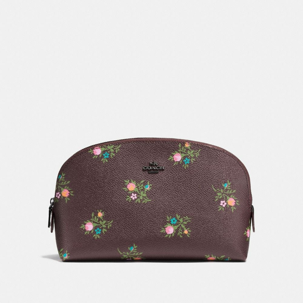 Coach Cosmetic Case 22 With Cross Stitch Floral Print