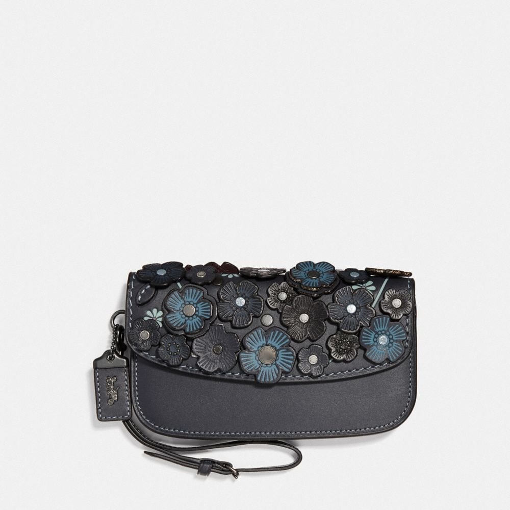 COACH CLUTCH WITH SMALL TEA ROSE - WOMEN'S