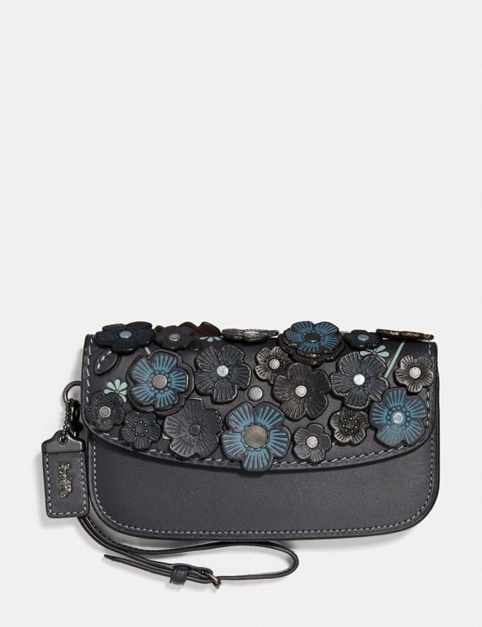 "Coach Clutch Im Feinen ""Tea Rose""-Design Messing/Nachtblau Navy"