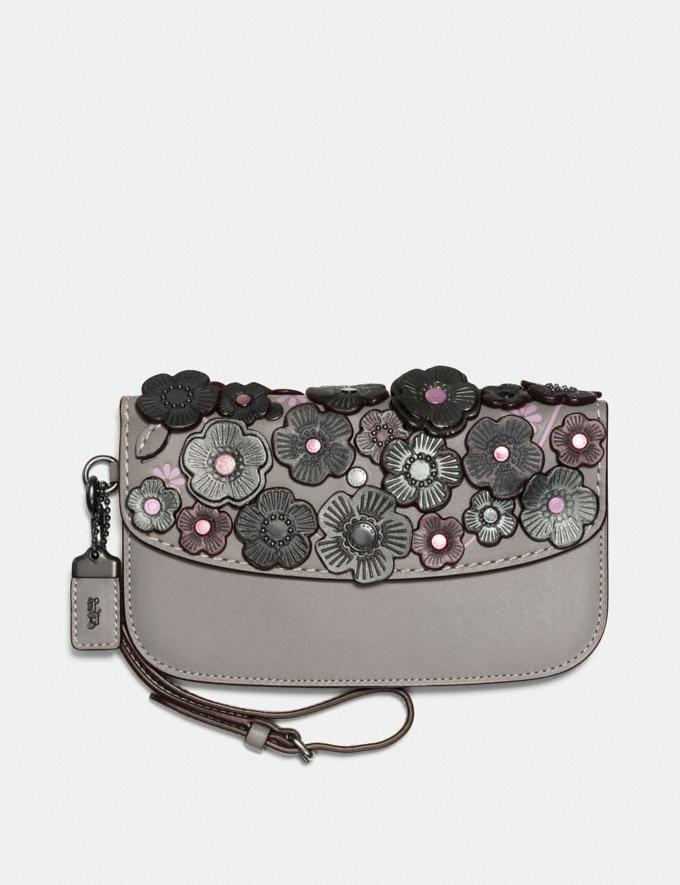 Coach Clutch With Small Tea Rose Heather Grey/Black Copper