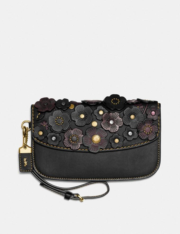 "Coach Clutch Im Feinen ""Tea Rose""-Design Schwarz/Altes Messing"