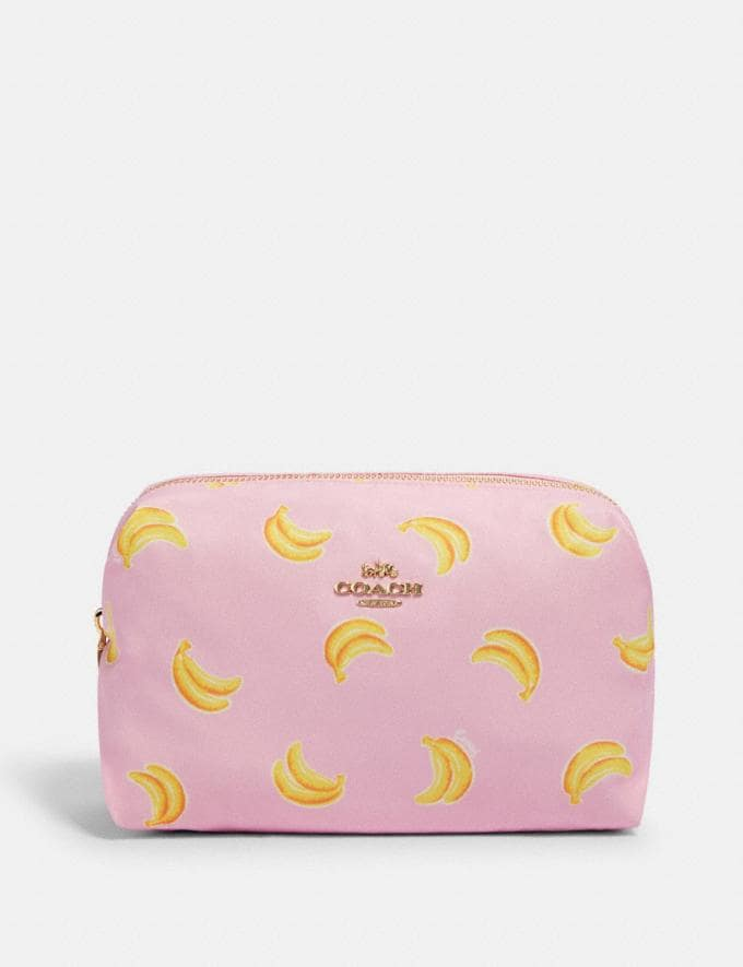 Coach Large Boxy Cosmetic Case With Banana Print Im/Pink/Yellow