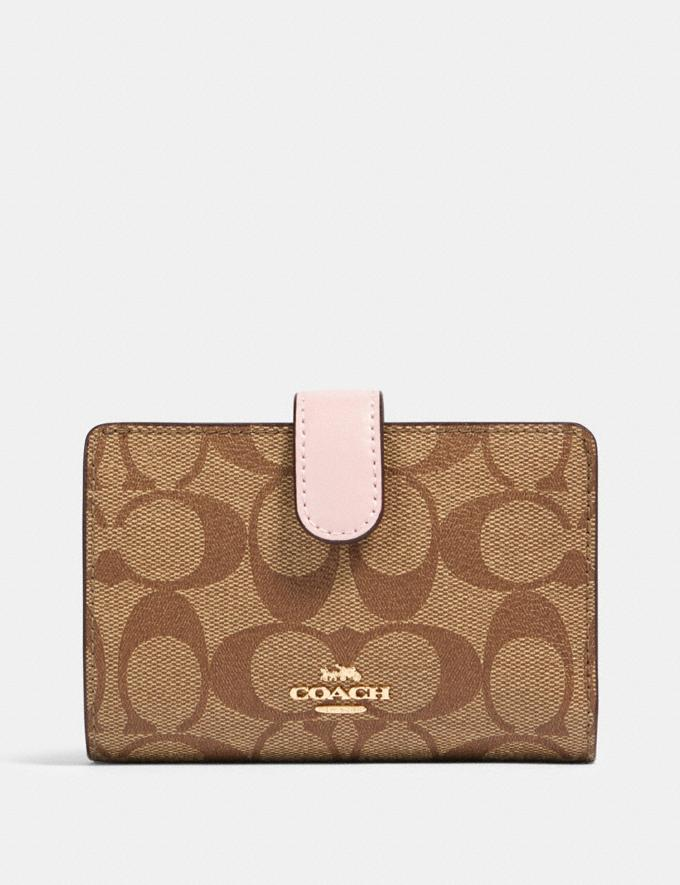 Coach Medium Corner Zip Wallet in Signature Canvas Im/Khaki Blossom