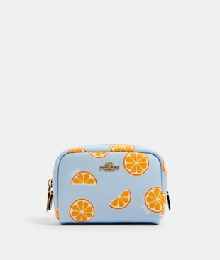 MINI BOXY COSMETIC CASE WITH ORANGE PRINT